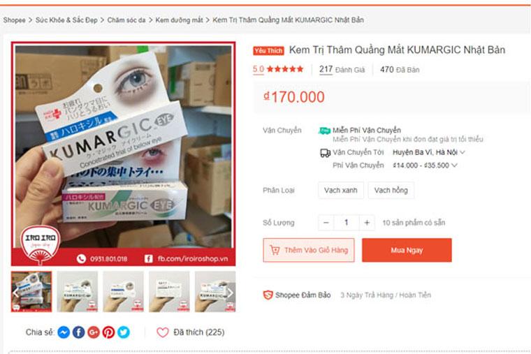 Kem trị thâm quầng mắt Kumargic đang được bán với mức giá dao động khoảng 170.000 vnđ