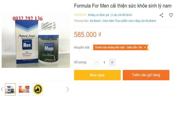 Formula For Men Giá Bao Nhiêu