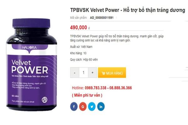 Giá sản phẩm Velvet power