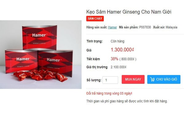 Giá bán kẹo sâm hamer