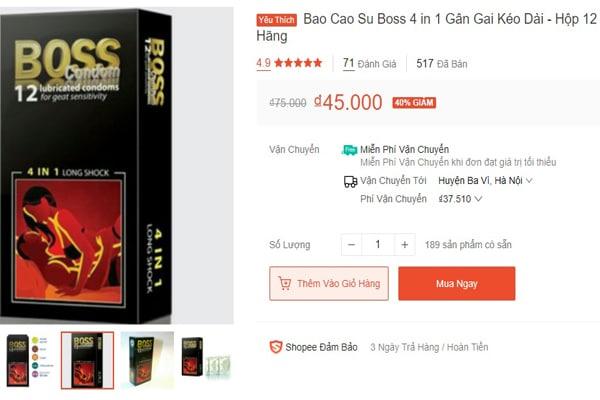 Giá bán bao cao su Boss