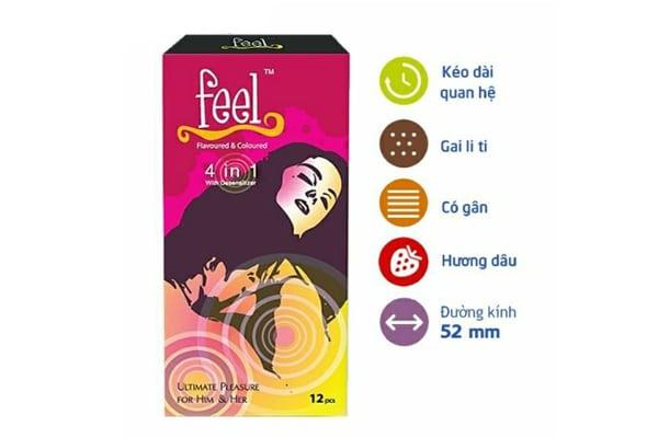 Bao cao su feel 4 in 1 gân gai hộp 12c