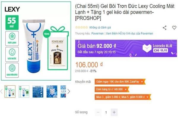 Gel bôi trơn lexy được bày bán hầu khắp mọi quầy thuốc và cửa hàng tiện lợi trên toàn quốc