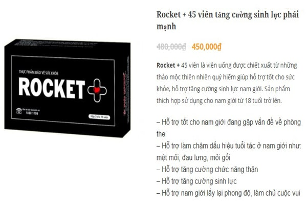 Giá bán tham khảo của viên uống tăng cường sinh lý rocket +