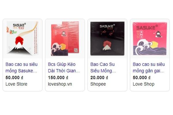 Giá bán bao cao su Sasuke