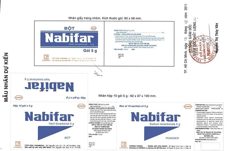 Nabifar đóng dưới dạng gói, bột
