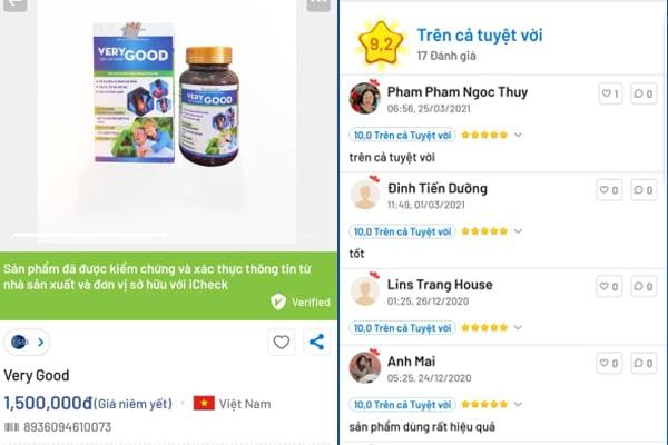 Thông tin sản phẩm trên app icheck