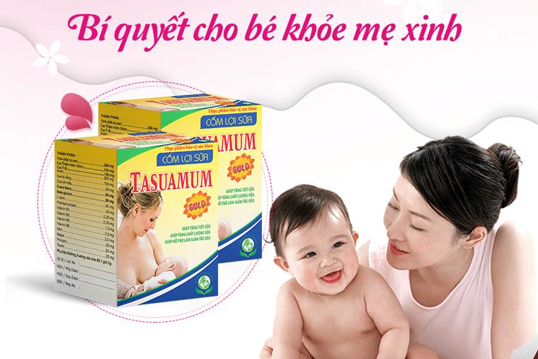 Sản phẩm cốm lợi sữa Tasuamum được rất nhiều bà mẹ tin dùng