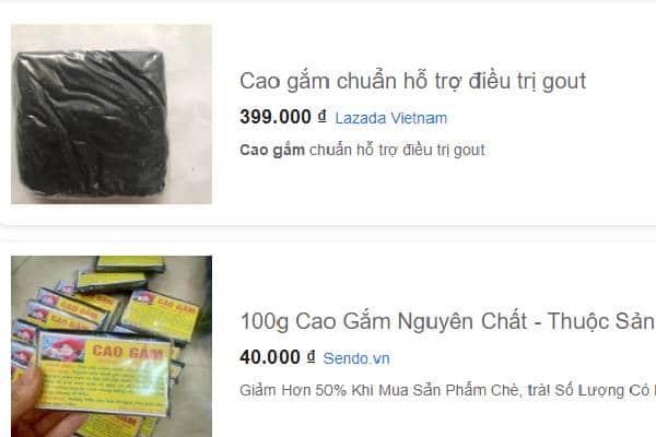 Cao Gắm được bán tràn lan trên mạng
