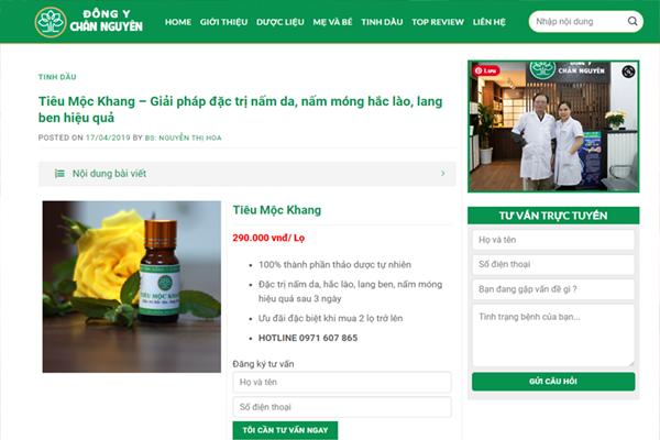 Tiêu Mộc Khang được bán trên website Đông Y Chân Nguyên