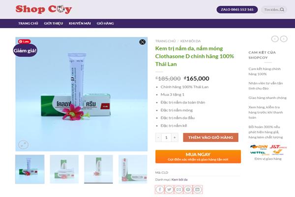 Kem trị nấm đầu Clothasone D chính hãng được bán trên ShopCoy