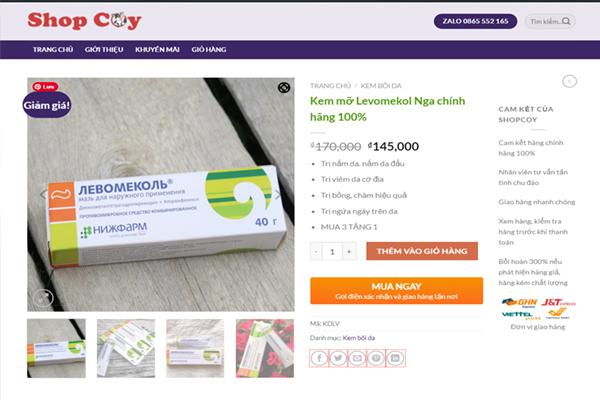 Kem trị nấm da Levomekol chính hãng được bán tại ShopCoy