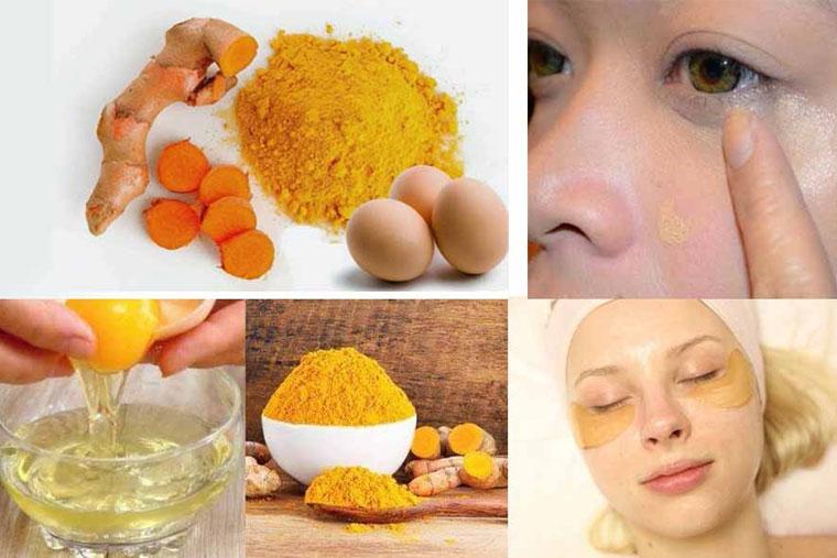 Sử dụng trứng gà kết hợp nghệ để trị thâm mắt rất hiệu quả