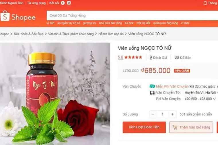Giá bán sản phẩm ngọc tố nữ tại shoppe