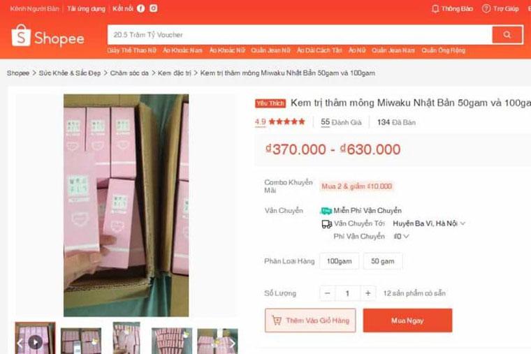 Kem trị thâm mông miwaku đang được bán rộng rãi trên các sàn thương mại điện tử