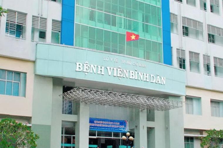 Phía trước bệnh viện Bình Dân