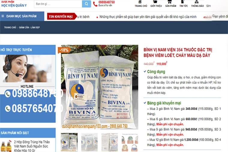 Giá thuốc Bình Vị Nam