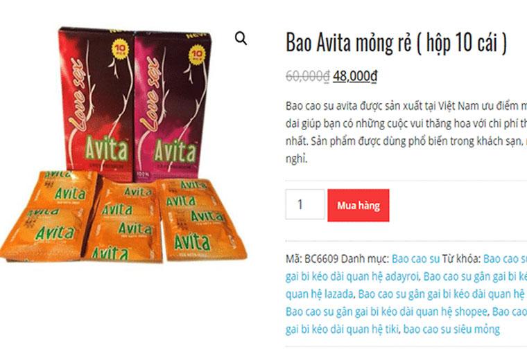 Giá bao cao su Avita
