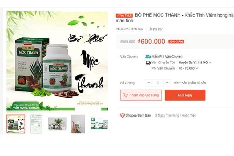 Giá thuốc BP Mộc Thanh trên shoppe