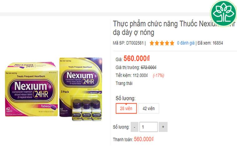 Giá thuốc Nexium 24Hr