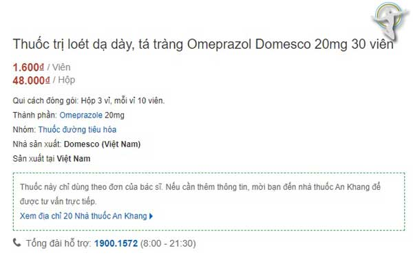 Giá thuốc Omeprazol domesco 20mg