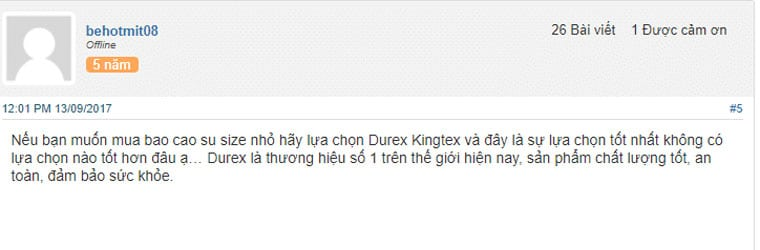 Review bao cao su Durex từ người dùng