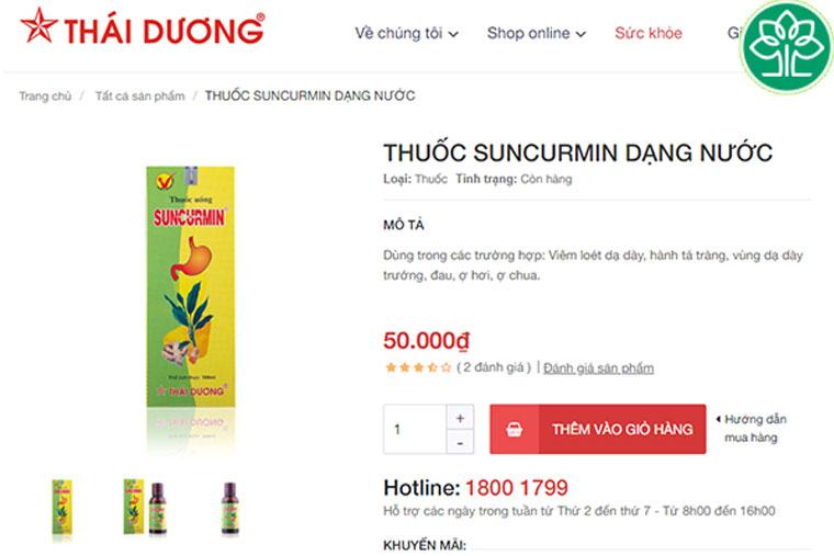Giá thuốc suncurmin tại website sao thái dương