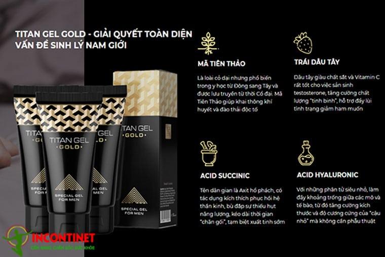Gel Titan Gold được làm từ thành phần tự nhiên