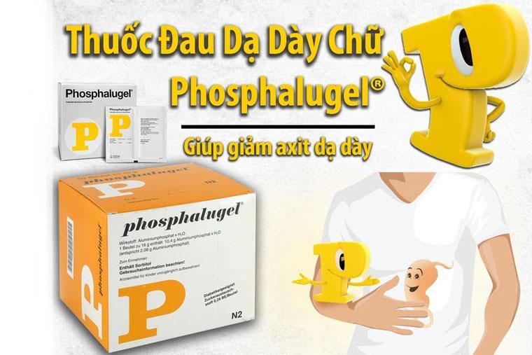 Thuốc Phosphalugel được dùng để điều trị đau dạ dày do tiết axit quá nhiều