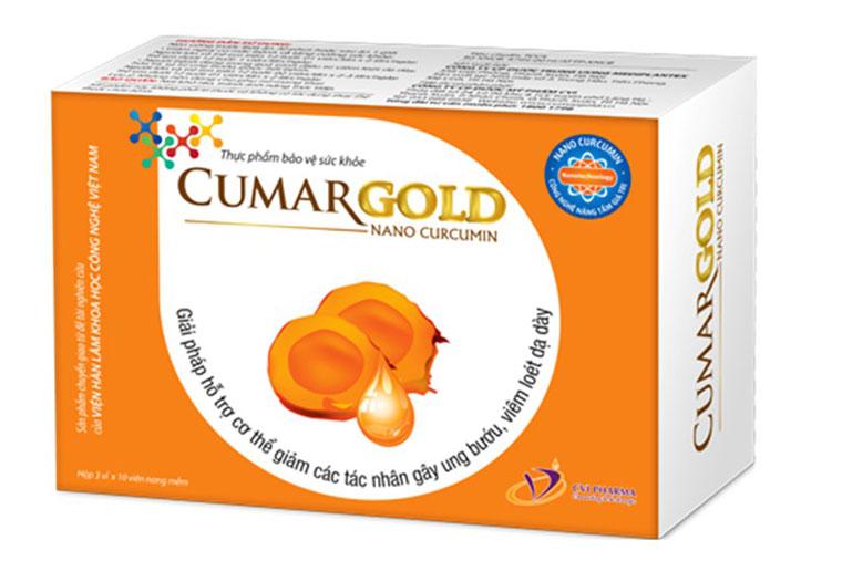 Cumargold là thực phẩm chức năng có chứa tinh bột nghệ nano curcumin. Do Công ty Dược phẩm Trung Ương Mediplantex sản xuất