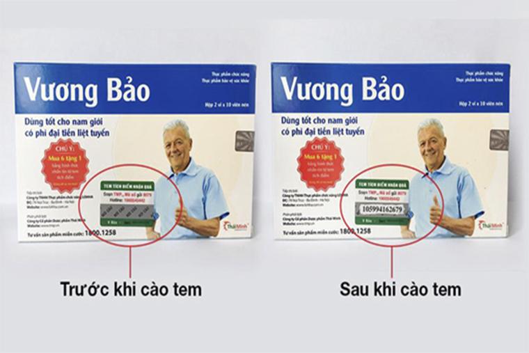 Hình ảnh tem cào trên vỏ hộp Vương Bảo