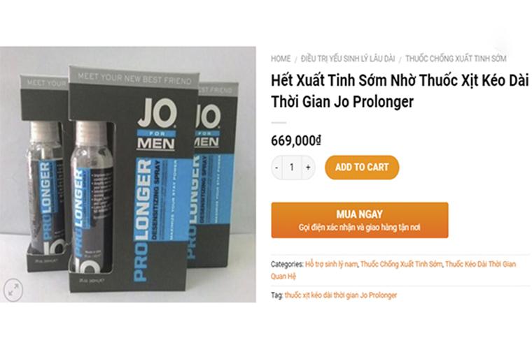 Giá tham khảo Xịt Prolonger